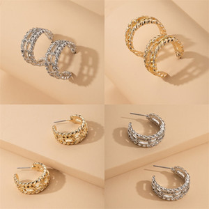 Ark Küpe Metal Altın Gümüş Kaplama Kulak Çiviler Kadın Düzensiz Hollow Saplama Minimalist Takı Moda Bağbozumu 1 2SF L2