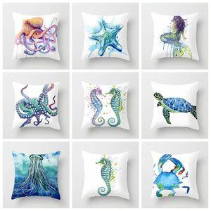 ZENGA Watercolor Octopus Cushion Cover Ocean Starfish Mermaid Pillow Case Seaside Cushion Polyester marine decoration Sofa Decor