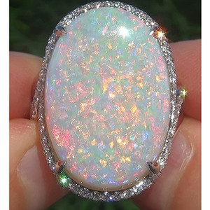 Best Selling Super Large Opel Ring Fashion Ladies Jewelry Copper Plated Silver Inlaid Zircon Artificial Ring Opal Jewelry Wholesale