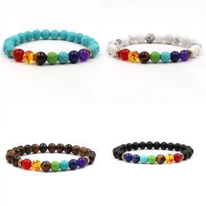 Bracelet en pierre naturelle Mode Bijoux colorés Hommes Femmes Turquoise Volcanic Rocks Chakras Bracelets Yoga Perles 5 4 45 de K2B