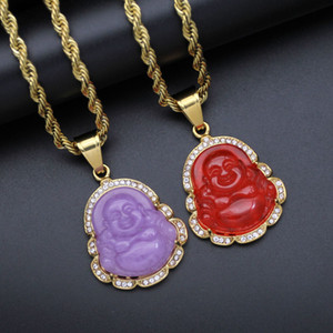 Cubic Zircon Maitreya Buddha Pendant Necklace For Women Men Rope Chain Big Belly Buddha Necklace Hip Hop Jewelry Christmas Gifts 201013