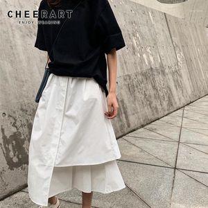 CheerArt Yaz Yüksek Bel Etek Kadın Elastik Bel Beyaz Siyah Etek Midi Uzun Gevşek Asimetrik Giyim1