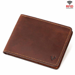 New Rfid Anti-theft Men Leather Wallet Double Fold Short Leather Purse Designer Wallet European And American Retro Ultra Thin Men Wallet