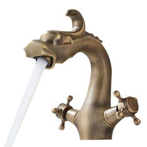 Ванная комната античная латунь кран двойной ручкой Китайский дракон Совмещенный раковины Смеситель для раковины Смесители на бортике одно отверстие Водопад бассейна
