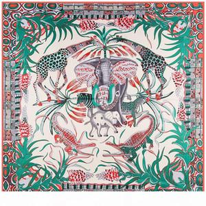 wholesale 100% Silk Scarf Women Animals Print Silk Foulard Large Square Scarves Neckerchief Head Hijab Large Wraps 130x130cm