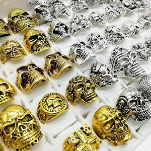 Fashion Punk Style 30pcs lot Skull Rings Mix Silver Gold Skeleton Big Sizes Men's Women Metal Jewelry party Gift