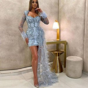 Blue Short Lace Prom Dresses 2020 Full Sleeves Ribbon Mini Party Dresses Beaded Prom Gowns Club Wear