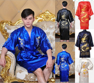5 Renk! Donanma Mavi Çin Erkekler / Kadınlar Saten Ipek Nakış Robe Kimono Banyo Kıyafeti Ejderha Gecelikler Boyutu M l XL XXL XXXL