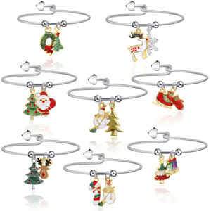 Women Bracelet of Fashion Jewelry Christmas Bracelets Reindeer Santa Candy Holiday Gifts Bangle for Women Kids