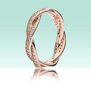 Luxe or rose 18 carats boîte femmes Anneaux pour voir Sparkling Twisted Lines 925 anneau de mariage en argent sterling CZ Bague en diamant