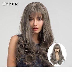 Emmor Long Ombre Cinza Cor Wigs de Cabelo Ondulado para Mulheres Brancas Pretas Resistente ao Calor? Moda Festa Sintética Cosplay Lolita Wigs