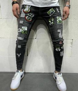 2020 Men Badge hip hop skinny jeans fashion designer Stretch Streetwear Denim66