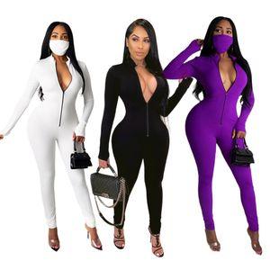 Сплошной цвет молнии женские Комбинезоны Stand шею длинным рукавом 3 цвета Вариант Женщины ползунки вскользь тонкой одежды
