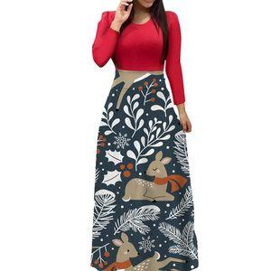 Patchwork Flower Print Dress Christmas Retro Women Long Maxi Vestidos Slim A Line Dresses Autumn Fashion Dress Plus Size S-5XL