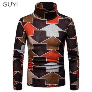 GUYI Multi Color Arrows Turtleneck Sweaters Cotton Autumn Winter Pullover Fashion Basic Casual Business Top Men Warm Long Sleeve Q1110