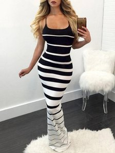 2020 Hirigin New Women Summer Sexy Striped Slim Dress Off Shoulder Casual Bandage Bodycon Evening Party Long Maxi Dress Skinny