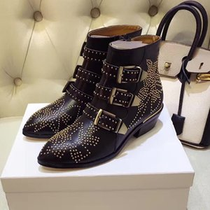 Hot Sale-Lined Susanna Studded Leather Buckle Ankle Boots For Women Round Toe Kitten Heels Shoes Women zapatos mujer