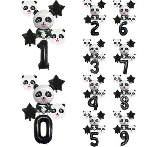 6pcs Cartoon Panda Balloon Black Star Number Foil Balloons kit Children Birthday Party Decoration 1-9 Years Anniversary Supplies