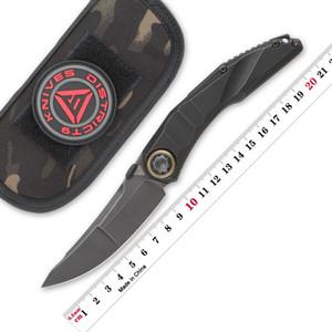 District 9 Serpent Thumb Disk Couteau pliant M390 Blade Titanium Poignée de Titanium Hunt Couteaux de survie extérieure Couteaux de poche EDC Outils de poche