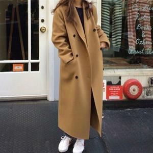 Mozuleva Retro Loose Double-breasted Women Long Overcoats Winter Warm Full Sleeve Notched Collar Female Woolen Coats Female 201103