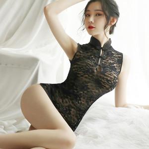 Sexy Women Cheongsam chinês Estilo Erotic Lingerie Mini Qipao Babydoll Roupa interior oco Dividir Party Dress Nightclub