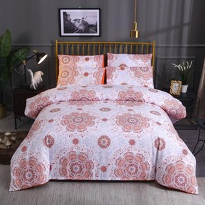 ISHOWTIENDA Three-piece Bedding Soft Skin Bohemian National Wind Quilt Pillowcase Without Sheet Cover For Bedroom Living Room