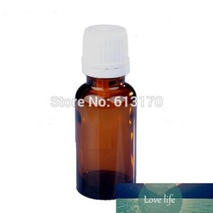 20pcs 20ML Amber Glass Bottles White Screw Tamper Proof Cap Empty Essential Oil Bottle Juice Serum Container Small Sample Vials