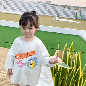 3113 2020 New Children's Clothing Spring And Summer Baby Girls Sweater Korean Loose Letters T Shirt Top Outerwear For Kids 1-7 Y