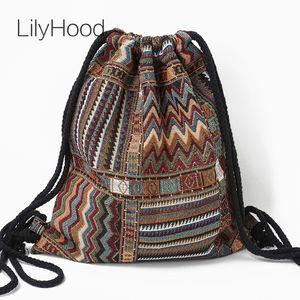 Lilyhood Mujeres Tela Mochila Mujer gitana bohemia elegante de Boho aztecas tribales étnicas Ibiza Brown cordón Mochila Bolsas