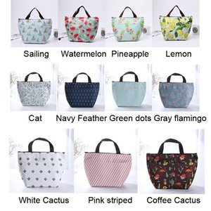 Outdoor Camping Aluminum Foil Insulated Lunch Handbag Large Capacity Portable Waterproof Food Bags Oxford Cloth Print Lunch Bag VT1558 T03