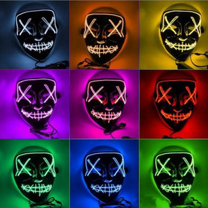 Halloween Mask LED Light Up Party Masks Full Face Funny Masks El Eire mark Glow In Dark For Festival Cosplay Night Club
