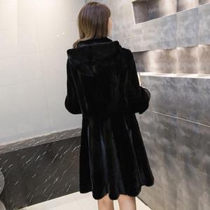 Женские меховые искусственные женщины 2021 осень зима большого размера пальто с капюшоном женский с длинным рукавом толщиной теплый пиджак имитация имитация S663