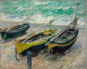 Olio Claude Monet Tre barche da pesca Home Decor Artigianato / HD Stampa pittura su tela di canapa di arte della parete della tela di canapa Immagini 201113