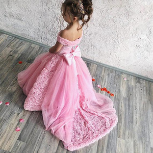 Romantic Blush Pink Flower Girl Dresses For Wedding Cute 3D Flowers Princess Party Luxury Ball Gown Girl Formal Pageant Dresses Brithday