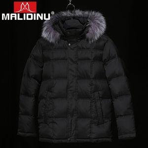 MALIDINU 2019 Down Jacket Men Winter Down Coats Real Fur Parka Thick Warm Winter Coat Men 70% White Duck Plus Size