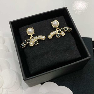 Desenhista de venda quente Classic Double Letter Black Diamante Branco Brincos 925 Prata L0-C21