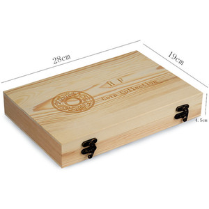 Commemorative Coin Storage Box Pine Word Coin Collection Case Rectangle Lock Catch Carving Boxes Excluding Coins 39hf L2
