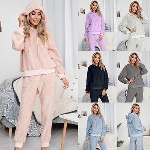 Women 2 Piece Set Velvet Lounge Wear Sets Pink Top And Pants Hoodie Cotton Casual 2pcs Roupas Fall Winter Ensemble Femme Suits