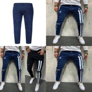 Yrzs mode männliche jacke jeans zerrissene jeans männer löcher fit hi street herren knee schlanke verzweigte Denim Jogger dünne Hosen