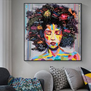 Abstract African Girl With Letters Wall Art Canvas Modern Pop Wall Graffiti Art Paintings Black Woman Cuadros Picture Home Decor