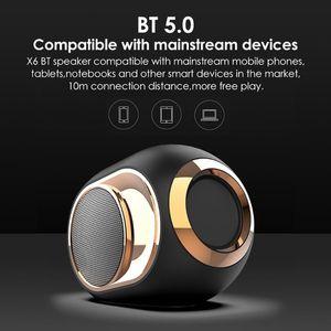 X6 بلوتوث 5.0 المتكلم الذهبي البيض المتكلم 108 ديسيبل موسيقى TWS المحمولة مكبرات الصوت اللاسلكية المحمولة للهاتف الكمبيوتر مقاوم للماء