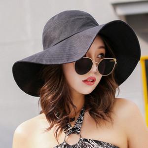 HT1645 High Quality Women Hats Summer Solid Plain Big Wide Brim Sun Hats Ladies Casual Panama Floppy Hat Female Bucket Beach Hat