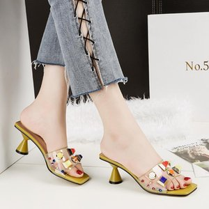 2020 new fashion open-toed ladies sandals sexy thick-heeled word drag women s shoes transparent temperament high-heeled sandals cheap free s