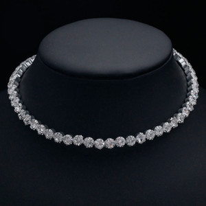Bridal Fashion Crystal Rhinestone Choker Necklace Women Wedding Accessories Tennis Chain Statement Chokers Party Jewelry Collier Femme