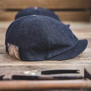MADEN Oversized Men's Denim NeiDBOY CAPS PARA HOMBRES Casual Vintage Pat Cap Vintage Hat Elastic Back One Tamaño Retro Beret Hats LJ201030