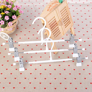 100Pcs Durable Thick Strong White Black Plastic Coated Metal Hanger with Clips for Pants Skirt Trouser Rack SN1968