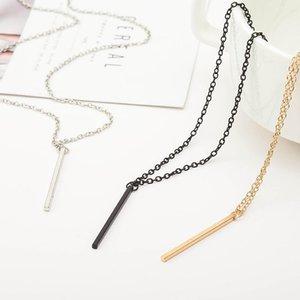 Простые цепи Бар ожерелья Длинные Rod украшения Золото / Серебро Цвет Collier Choker ожерелье Femme