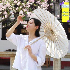 40 60 cm diámetro China Japón Paraguas parasol tradicional marco de bambú marco de madera asa de madera parasoles blancos paraguas artificiales