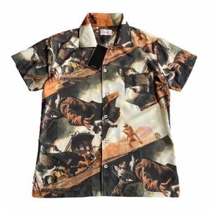 Rhuce Gömlek Bounty Hunter Yağlıboya Baskı Gömlek Erkekler Kadınlar Yüksek Kalite Pürüzsüz İpeksi Kumaş Plaj Gömlek Rhude Kısa Kol 1022