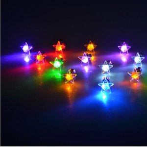 1PC Charm LED Earring Light Up Star Glowing Crystal Stainless Ear Drop Round Stud Earrings Jewelry For Women Bar Nightclub Party